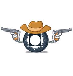 Cowboy byteball bytes coin character cartoon vector
