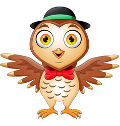 cute owl cartoon wearing hat and red bow vector image