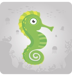 Cute sea horse cartoon vector
