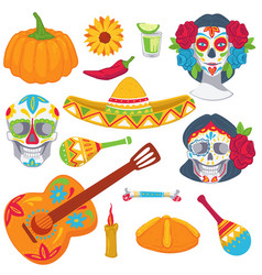 day dead mexican tradition objects vector image