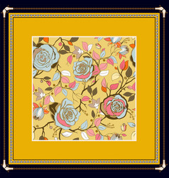 decorative frame with pattern color print vector image