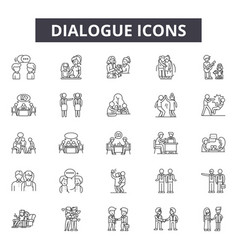 dialogue line icons signs set outline vector image