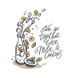 drawing of milk bottle and cookies handwritten vector image