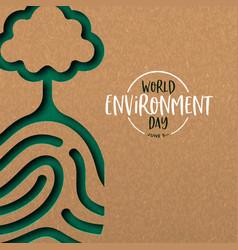 Environment day card papercut fingerprint vector