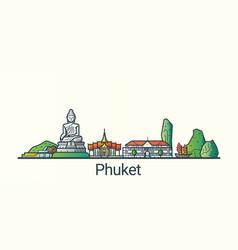 Flat line phuket banner vector