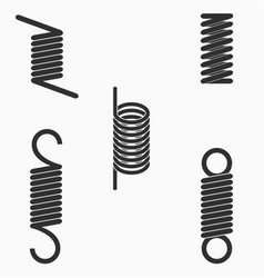 flexible metal wire spiral springs icons set vector image