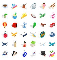 florida icons set isometric style vector image