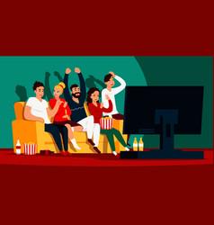 Friends watching tv cartoon happy characters vector