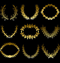 Golden floral laaurels set vector