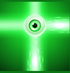 green background with eye and binary code vector image