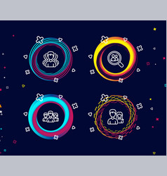 group teamwork and search employees icons couple vector image