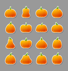 halloween pumpkin icon sticker set vector image