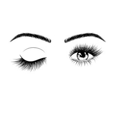 hand drawn female eyes silhouette wink one eye vector image