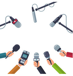 Hands holding microphones press conference vector