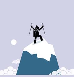 Happy man successfully climb on top vector