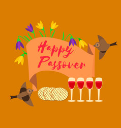 Happy passover poster card matzah bread wine for vector