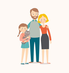happy young family mother father their daughter vector image
