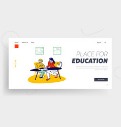 homeschooling website landing page woman and vector image