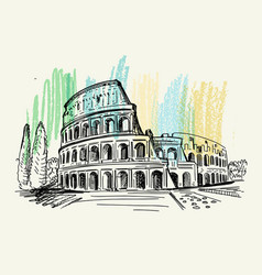 Italy hand drawn coliseum rome vector