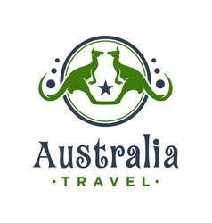 Kangaroo animal circle logo design vector