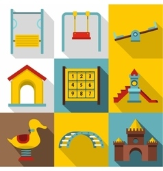 Kids games icons set flat style vector