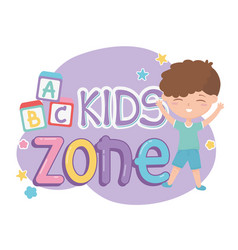 Kids zone cute little boy alphabet blocks vector