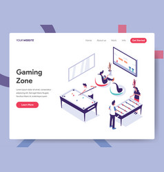 landing page template gaming zone concept vector image