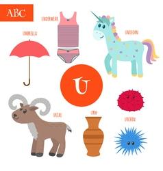Letter U Cartoon alphabet for children Unicorn vector