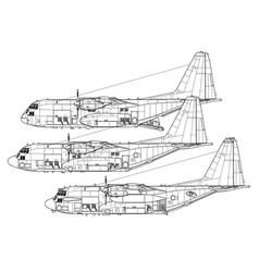 lockheed boieng ac-130 gunship-spectre vector image