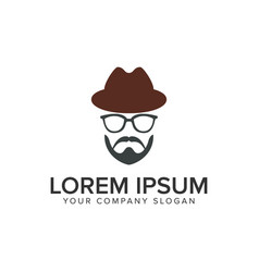 man with beard and hat logo design concept vector image
