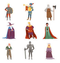 medieval people characters set european middle vector image
