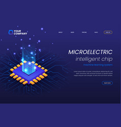 micro electronics circuits landing page template vector image