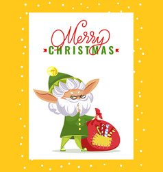 old elf with gifts bag on christmas greeting card vector image