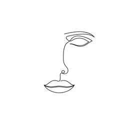one line drawing abstract face continuous line vector image