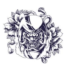 oni daruma mascot logo design vector image