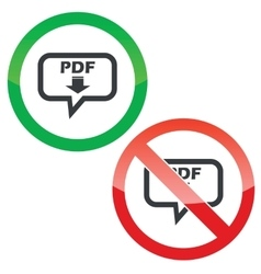 PDF download message permission signs vector image