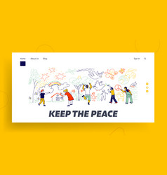 peace or international children day landing page vector image