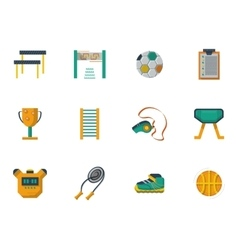 Physical culture flat color icons set vector image