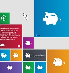 Piggy bank icon sign buttons Modern interface vector