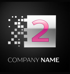 pink number two logo symbol in the silver square vector image