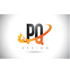 pq p q letter logo with fire flames design and vector image