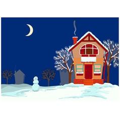 Quiet evening in the winter vector image