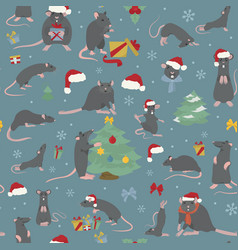 rats christmas seamless pattern rat poses and vector image