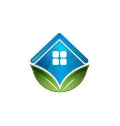 rooftop and leaf symbol green building logo vector image