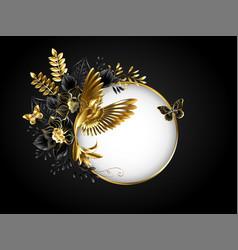 Round banner with golden hummingbird vector