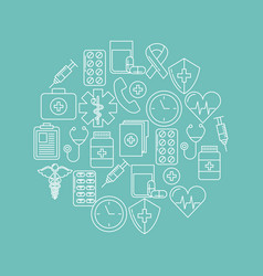 round icon health mind vector image