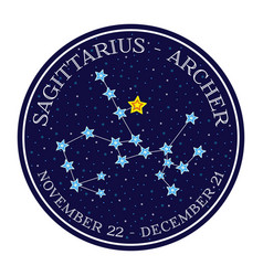 Sagittarius zodiac constellation round icon vector