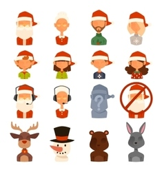 Santa Claus family wife kids avatars vector
