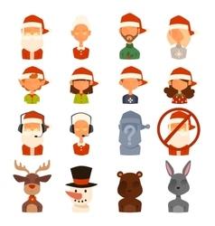 Santa claus family wife kids avatars vector