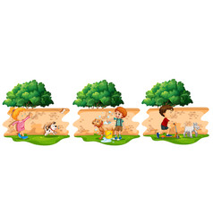 scenes with children and pet dog vector image